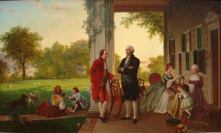 Washington and Lafayette at Mount Vernon, Thomas Pritchard Rossiter and Louis Remy Mignot, 1959. o/c